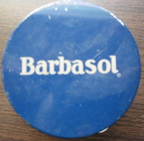 1950's Embossed Barbasol Shaving Cream Glass Jar with Blue (Shave Cream Glass Jar)