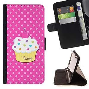 - Ice Cream Summer - - Monedero PU titular de la tarjeta de cr?dito de cuero cubierta de la caja de la bolsa FOR Apple Iphone 6 Retro Candy
