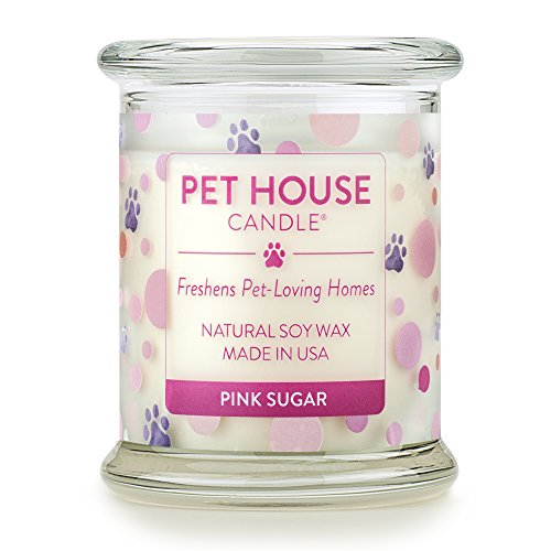 One Fur All 100% Natural Soy Wax Candle, 20 Fragrances - Pet Odor Eliminator, Appx 60 Hrs Burn Time, Non-Toxic, Eco-Friendly Reusable Glass Jar Scented Candles – Pet House Candle, Pink Sugar