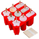 SJ Ice Popsicle Molds, 3 Shapes Handmade Ice Pop Molds, 50 Pcs Wooden Sticks for Kids and Adults, BPA Free(Red)