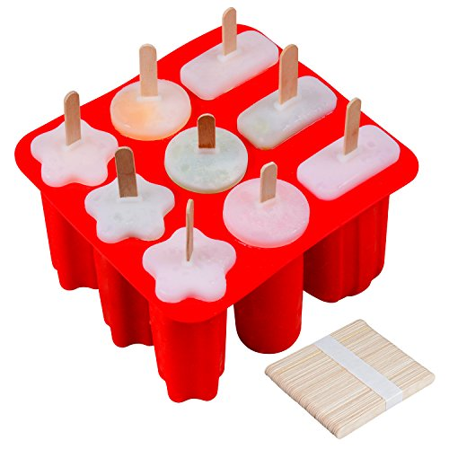 SJ Ice Popsicle Molds, 3 Shapes Handmade Ice Pop Molds, 50 Pcs Wooden Sticks for Kids and Adults, BPA Free(Red) by SJ
