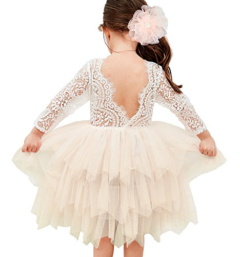 (Topmaker Backless A-line Lace Back Flower Girl Dress (3T,)