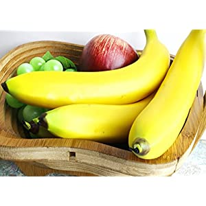 Juvale Set of 6 Individual Fake Fruit Bananas - Artificial Fruit Plastic Bananas for Still Life Paintings, Storefront Decoration, Kitchen Decor, Yellow, 8 x 3.7 x 1.5 Inches 3