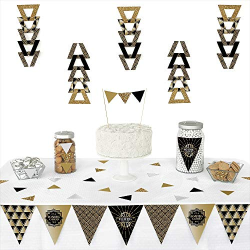 Roaring 20's - Triangle 1920s Art Deco Jazz Party Decoration Kit - 72 Piece ()