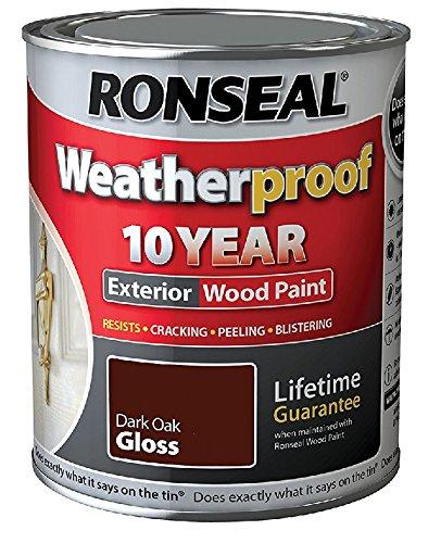 Ronseal Weatherproof 10 Year Wood Paint - Gloss - Dark Oak - 2.5 Litre