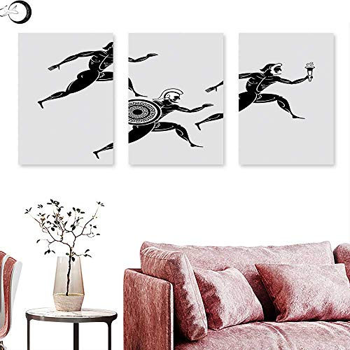 J Chief Sky Toga Party Living Room Home Office Decorations Historical Ancient Spartan Runners Antique Body Heritage Illustration Wall Painting Light Grey Black Triptych Art Canvas W 20