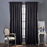 Home Decor Blackout Velvet Curtains - Sound Reducing Heavy Matt Solid Drapes / Panels for Living Room by NICETOWN (One Panel, 84 inch Long, Grey)