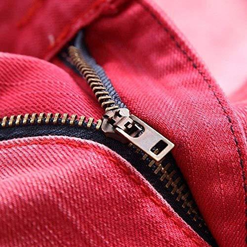 Fit Rot Slim Biker Look Ragazzo Stretch Skinny Lavato Destroyed Jeans Uomo In Pants Da Denim wqpxSRH6vz