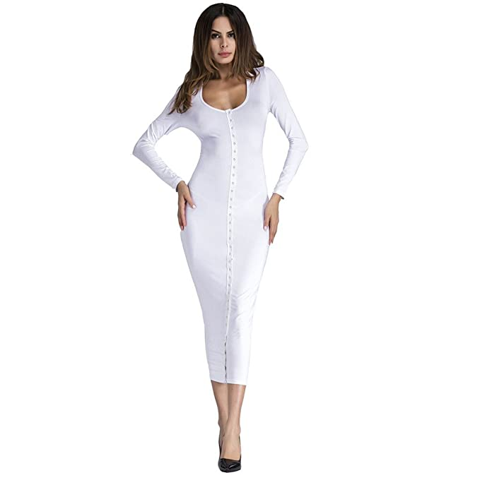 Vestiti Lungo Donna Elegante LandFox Sexy Abito lungo aderente sexy  aderente da sera per clubwear da 16a757b4ec4