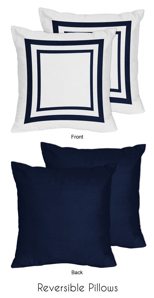 Sweet Jojo Designs 2-Piece Anchors Away Nautical Navy and White Decorative Accent Throw Pillows