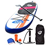 Goplus Inflatable Stand Up Paddle Board Package w/Fin Adjustable Paddle Pump Kit Carry Backpack, 6' Thick