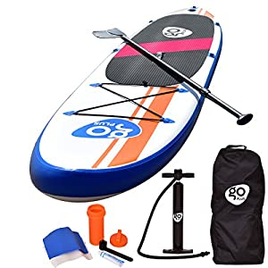 Goplus Inflatable Stand Up Paddle Board Package w/Fin Adjustable Paddle Pump Kit Carry Backpack, 6″ Thick