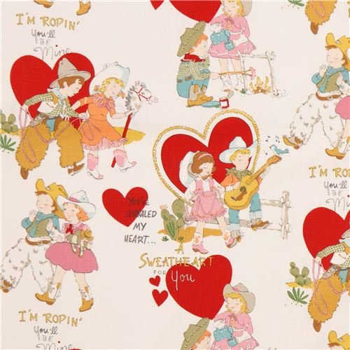 Light cream Alexander Henry fabric cowboy cowgirl children heart love (per 0.5 yard - Cowgirl Fabric