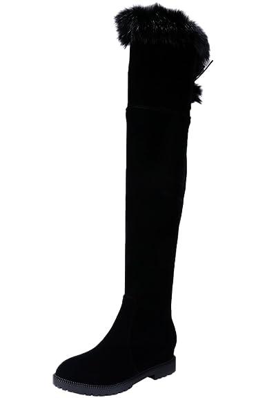 Damen Lang Stiefel Erhöhte Schwarz Faux Wildleder Herbst Winter Bequem Plateau Overknees Stiefel von Bigtree 35 EU Fy5LH