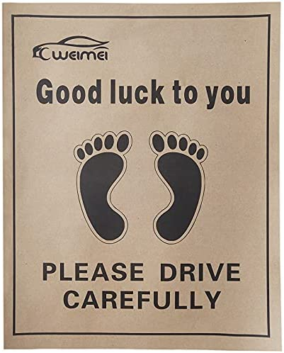 200Pcs Protective Auto Floor Mat, Disposable Paper Floor Mats for Cars, Printed with Cute Footprint and Words Kraft Paper Automotive Floor Mat for Vehicles – 19.7″x15.7″