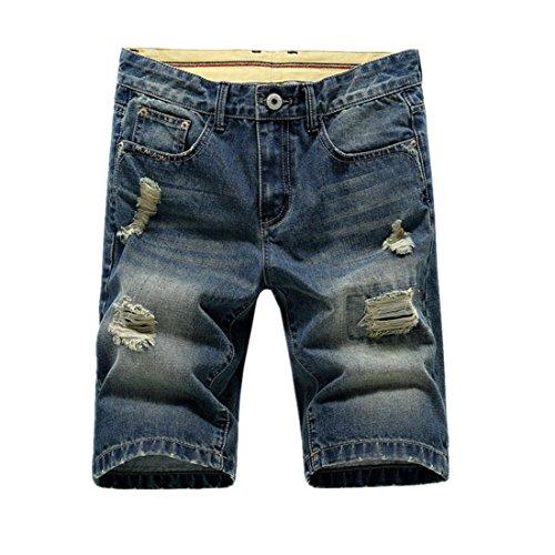Summer Weight (Hzcx Fashion Men's Summer Light Weight Blue Short Jeans Slim Brush Denim Shorts QT3016-8198-40-32)