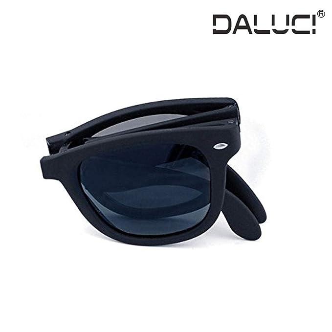 edb26891f5 DALUCI Retro Vintage Portable Foldable Polarized Sunglasses For Men Women ( Black