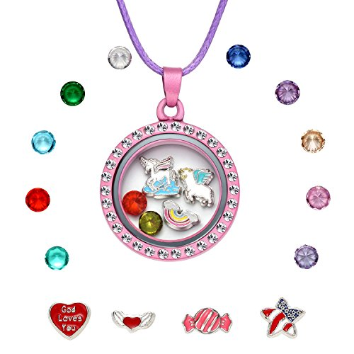 Crystal Heart Locket Necklace - Unicorn Floating Charm Locket Necklace, Unicorn Jewelry Gifts for Girls (Pink)