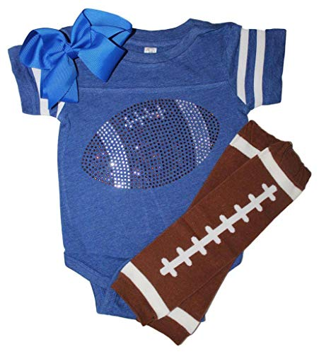 FanGarb Rhinestone Infant Toddler Baby Girls Football Blue Team Color Outfit -