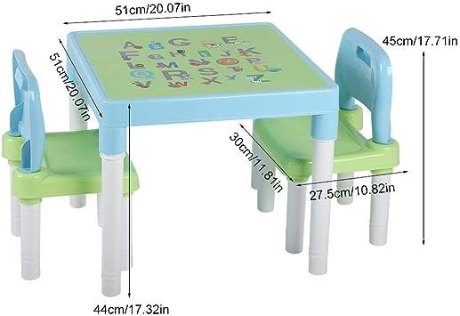 lyrlody Tavolino Sedie Set Cameretta per Bambini Tavolo e 2 Sedie,Tavolino Gioco Bambino Soggiorno Tavolino con 2 Sgabelli per Pittura//Lettura//Gioco di Gruppo,in plastica Verde