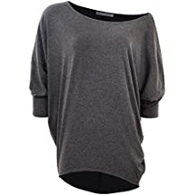 GLOSTORY Women's Casual Long Sleeve Loose Blouses Batwing Sleeve Off Shoulder T-Shirt Tops 2695