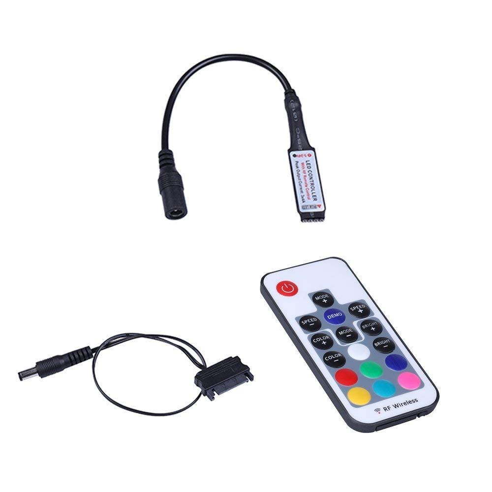 RF Controller Support RAM led Computer LED Strip Light Connect SATA Cable,17 Key Remote (M Series) by LEDdess