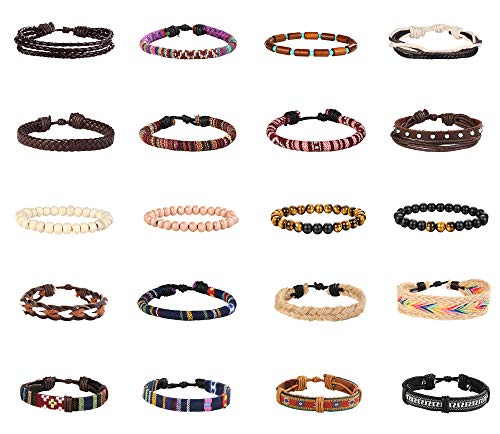 Finrezio 20 Pcs Braided Bracelet Set Women Men Beads Leather Wristbands Boho Ethnic Tribal Linen Hemp Cords Wrap Bracelets String Handmade Jewelry