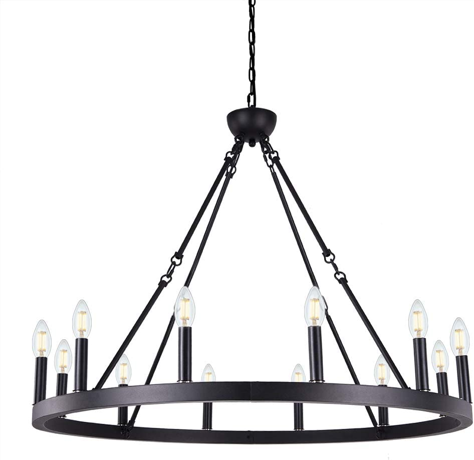 Wellmet 12-Light Black Wagon Wheel Chandelier Diam 38 inch, Farmhouse Industrial Country Style Large Round Pendant Light Fixture for Dining Room, Kitchen Island