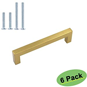 Gold Cabinet Hardware 3.5 inch Drawer Pulls 6 Pack - homdiy HDJ12GD Brass Cabinet Handles Gold Cabinet Pulls Moden Kitchen Cabinet Handles Dresser Drawer Handles Square Cabinet Pulls