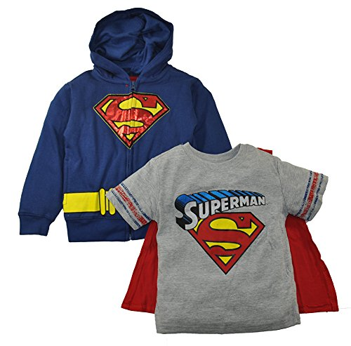 Batman Vs Superman Little Boys Hoodie T-shirt & Cape 3pc Set (2T, Superman) (Superman T Shirt With Cape)