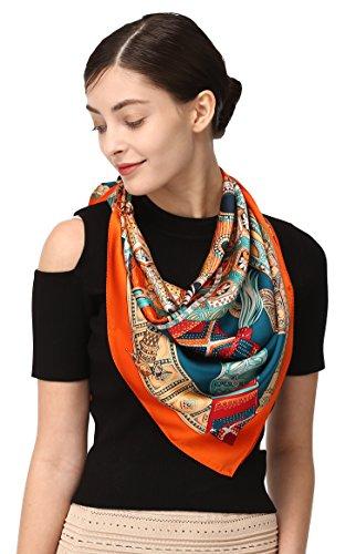 (Grace Scarves 100% Silk Scarf, Extra-Large, Tribal Shield, Green/Orange)