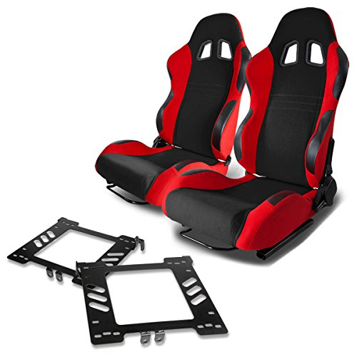 Pair of RST7BKRD Racing Seats+Mounting Bracket for Volkswagen Golf/Jetta/Beetle Mk4