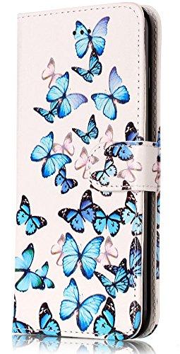 iPhone 8 Plus Case, iPhone 7 Plus Case, JanCalm iphone 7/8 plus wallet case Pattern Premium PU Leather [Card/Cash Slots] STAND Magnetic Closure Flip Cover + Crystal pen (Blue butterfly)
