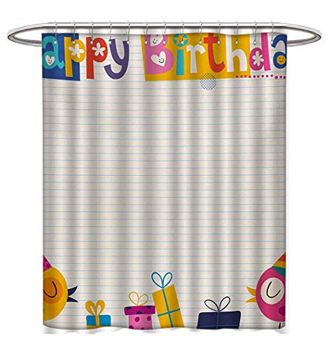 Anhuthree Kids Birthday Shower Curtain Collection by Cartoon Colorful Image Party Birds with Cones Surprise Boxes Fun Happiness Satin Fabric Sets Bathroom W72 x L96 Multicolor