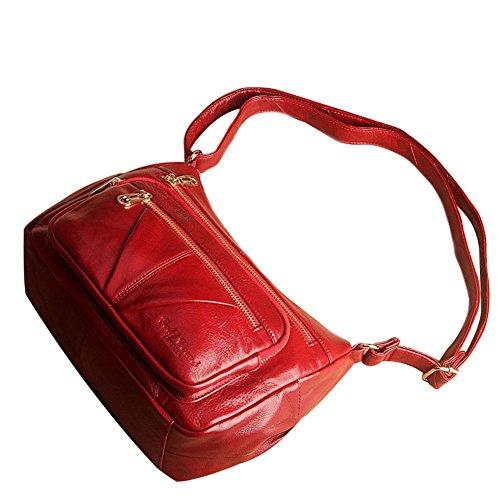 Genda 2Archer Bolso de Cuero Unisex del Mensajero del Bolso (27cm * 10cm * 17cm) (Negro) Rojo