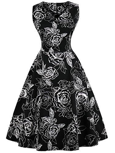 FAIRY COUPLE 1950S Vintage Rockabilly Lunares Vestido de Baile DRT072(M,Flores Blancas Negras)