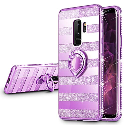 VEGO Galaxy S9 Plus Glitter Case Mirror Sparkle Bling Diamond Case with Kickstand Luxury Rhinestone Bumper Protective Case with Ring Stand for Samsung Galaxy S9 Plus (Stripe ()