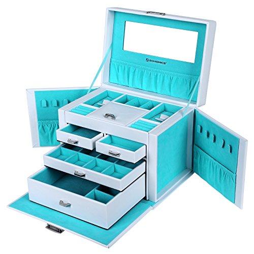 Songmics 26,5 x 19 x 20 cm Schmuckkoffer Schmuckkästchen Abschließbar mit spiegel Schublade JBC212L