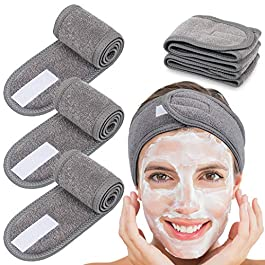 Spa Facial Headband Whaline Head Wrap Terry Cloth Headband 4 Counts Stretch Towel for Bath, Makeup and Sport (Gray)