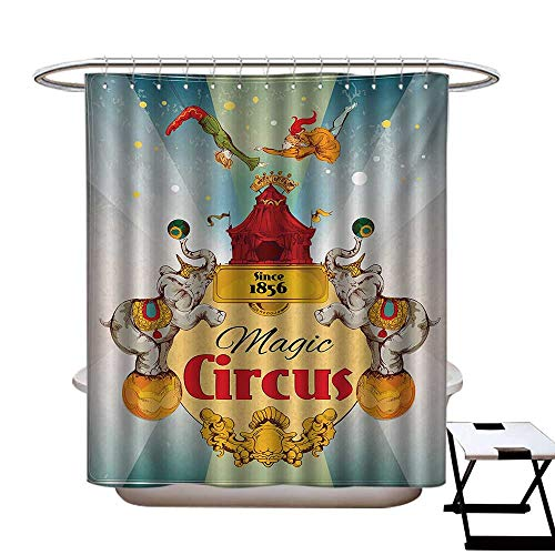 (BlountDecor Circus Shower Curtain Collection by Magic Circus Tent Show Announcement Vintage Style Aerialist Acrobat Performance Patterned Shower Curtain W36 x L72 Multicolor)