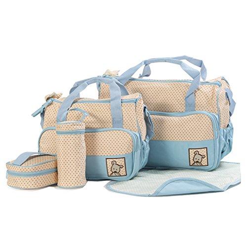 BigForest 5pcs/set Multifunction waterproof Baby Diaper Bag Nappy Changing Pad Travel Mummy Bag Tote Handbag Set Sky Blue