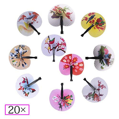 Bestage 20 Pack Chinese Round Shape Oriental Handheld Floral Folding Accordion Paper Fans for Wedding Birthday Party Favors Kids Gifts (Black Handle) -