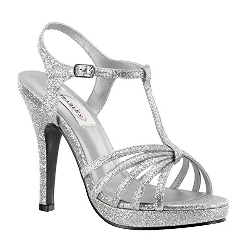 XINJING-S Silver Glitter Frauen Prom Brautjungfer Bridal High Heel Sandale Schuh,7