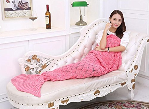 CR Mermaid Tail Blanket Knit Crochet and Mermaid Blanket for Adult,Sleeping (Crochet Cotton Light Peach)