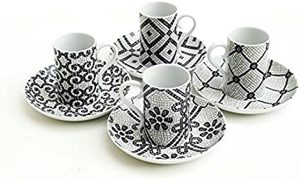 Calcada Portuguesa Portuguese cobblestone pavement by designer Manoela Medeiros Vista Alegre Porcelain Set of 4 Espresso Coffee Cups /& Saucers