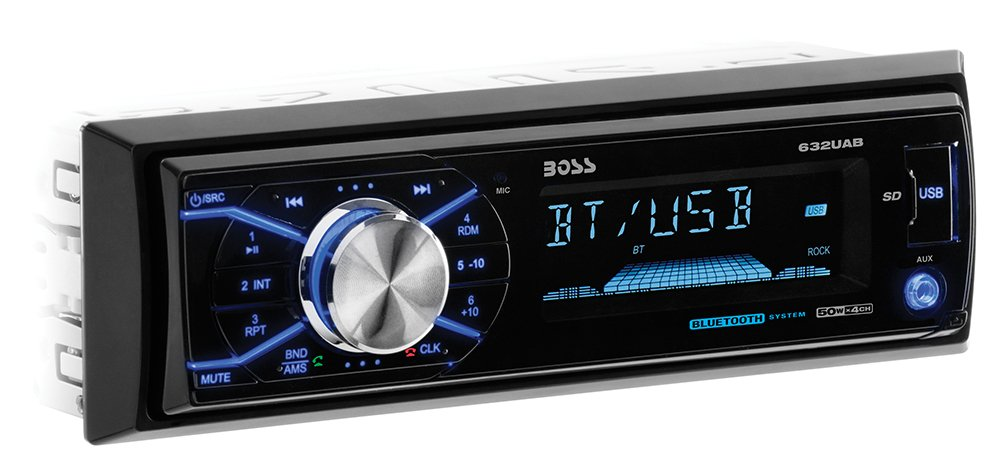 BOSS Audio 632UAB Car Stereo - Single Din, Bluetooth, (No CD/DVD) MP3/USB/WMA AM/FM Radio, Detachable Front Panel