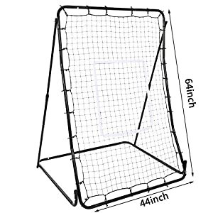 "Oguine Multi-sport Baseball Softball Lacrosse Rebounder Pitchback Screen Return Trainer Net,44"" x 64"" Adjustablel Practice Screen"