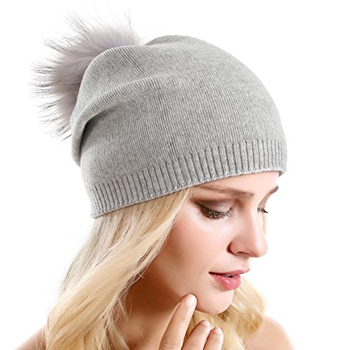 Women Knit Wool Beanie - Winter Fashion Solid Wool Hats Real Removable Raccoon Fur Pom Pom Warm Ski Beanie (Soft ()