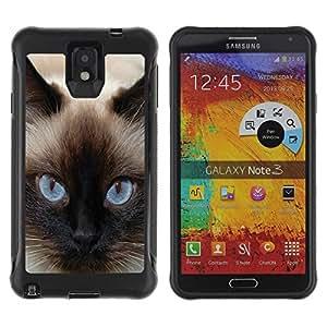 Suave TPU Caso Carcasa de Caucho Funda para Samsung Note 3 / Siamese Blue Eyes Cat Fur Feline / STRONG
