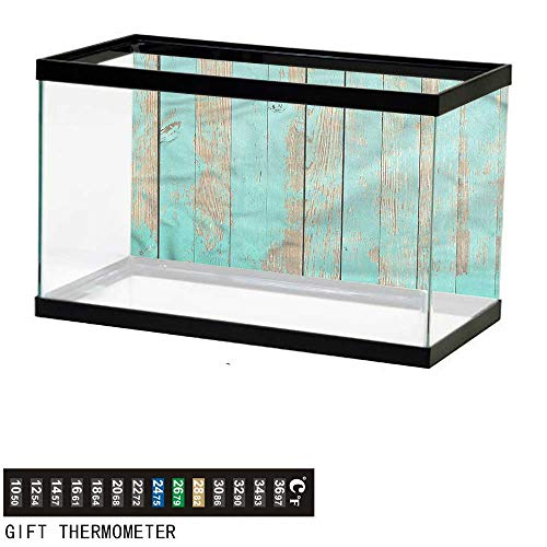 bybyhome Fish Tank Backdrop Aqua,Worn Out Look Wooden Planks,Aquarium Background,30